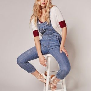 Free People Washed Denim Overall Skinny Distressed